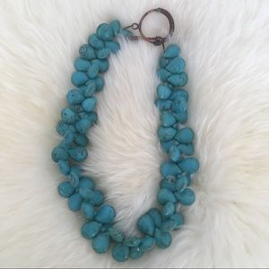 Turquoise and copper teardrop necklace